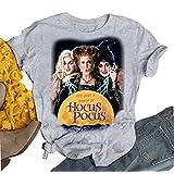 AIMITAG Halloween Sanderson Sisters T Shirt It's Just A Bunch of Hocus Pocus Tees for Women Fall Graphic Shirts Tops (Medium, Grey) (Color: Grey, Tamaño: Medium)