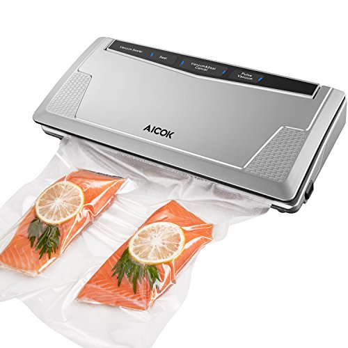 Aicok Vacuum Sealer, Automatic Vacuum Sealing System with Starter Kit, 3MM Sealer Width, Included Vacuum Roll, Silver, Food Vacuum Saver