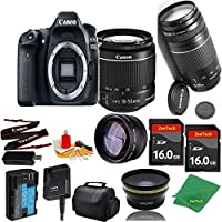 Great Value Bundle for 80D DSLR – 18-55mm STM + 75-300mm III + 2PCS 16GB Memory + Wide Angle + Telephoto Lens + Case