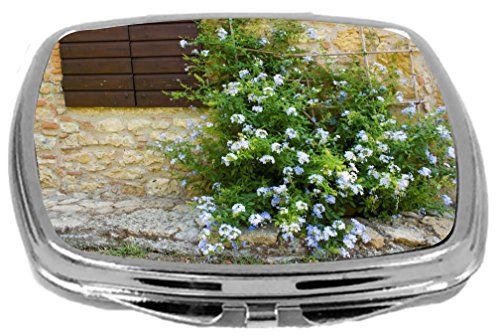 Rikki Knight Compact Mirror, Tuscan Window with Flowers