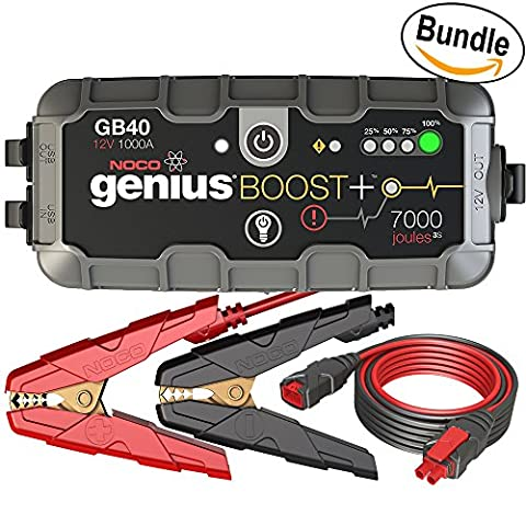 NOCO Genius Boost Plus GB40 1000 Amp 12V UltraSafe Lithium Jump Starter & NOCO Genius GC004 10' Extension Cable (Bundle)