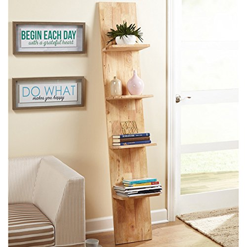 Beanstalk Natural Rubberwood Ladder Shelf
