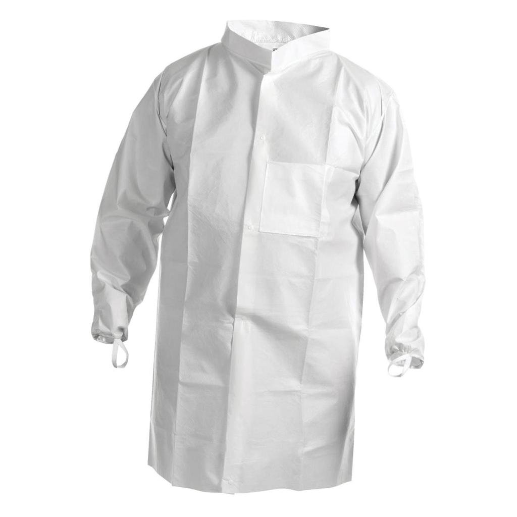 Kimberly Clark Basic Plus Lab Coat with Knit Collar and Cuffs - Blue - Large (26.5'' x 45.5'' x 19.5'') - 25 per Case