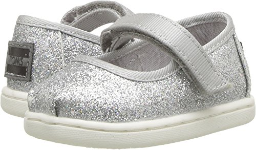 (TOMS Kids Baby Girl's Mary Jane (Infant/Toddler/Little Kid) Silver Iridescent Glimmer 11 M US Little)