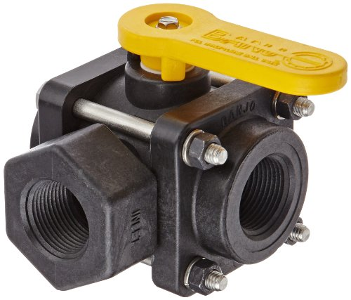 Banjo V100SL Polypropylene Side Load Ball Valve, Three Piece, Three Way, Full Port, 1