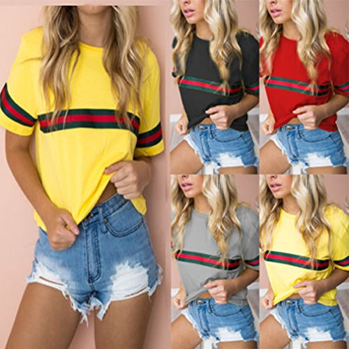 Tops Shirt 4 Couleur Lache Couleurs Chic Pure Hauts Manches Rond Col Splice Casual Courtes T Rayures Rouge Femme Chemisier wZXqSxaX