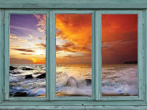 wall26 Waves crash over volcano rocks while a beautiful sunset paints the clouds bright orange - Wall Mural, Removable Sticker, Home Decor - 24x32 (Paint Sky Mural)