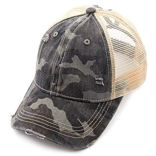 C.C Exclusives Hatsandscarf Washed Distressed Cotton Denim Ponytail Hat Adjustable Baseball Cap (BT-15) (Dk. Grey/Camo)