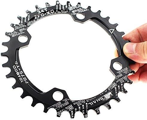 Plato para cadena única de bicicleta Fomtor de 32, 34 o 36 dientes, con BCD 104 y compatibilidad con velocidades 9, 10 y 11, de piñón fijo (redonda, negro), color 34T, tamaño