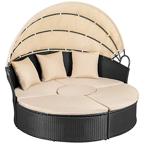 Homall Outdoor Patio Round Daybed with Retractable Canopy Wicker Furniture Sectional Seating with Table and Washable Cushions for Patio Backyard Porch Pool Patio Daybed Separated Seating (Beige)