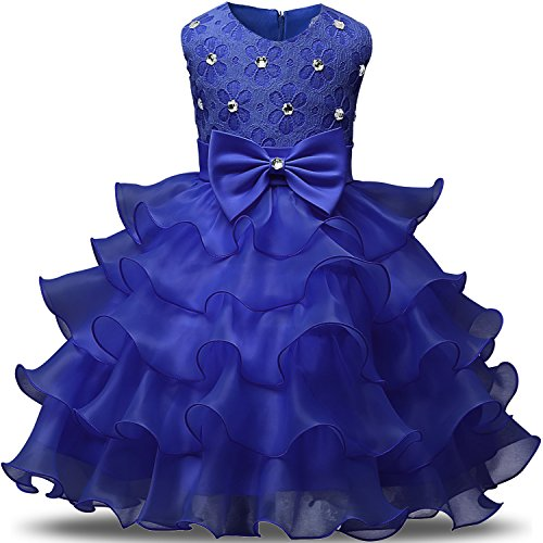 NNJXD Girl Dress Kids Ruffles Lace Party Wedding Dresses Size (120) 4-5 Years Blue by NNJXD