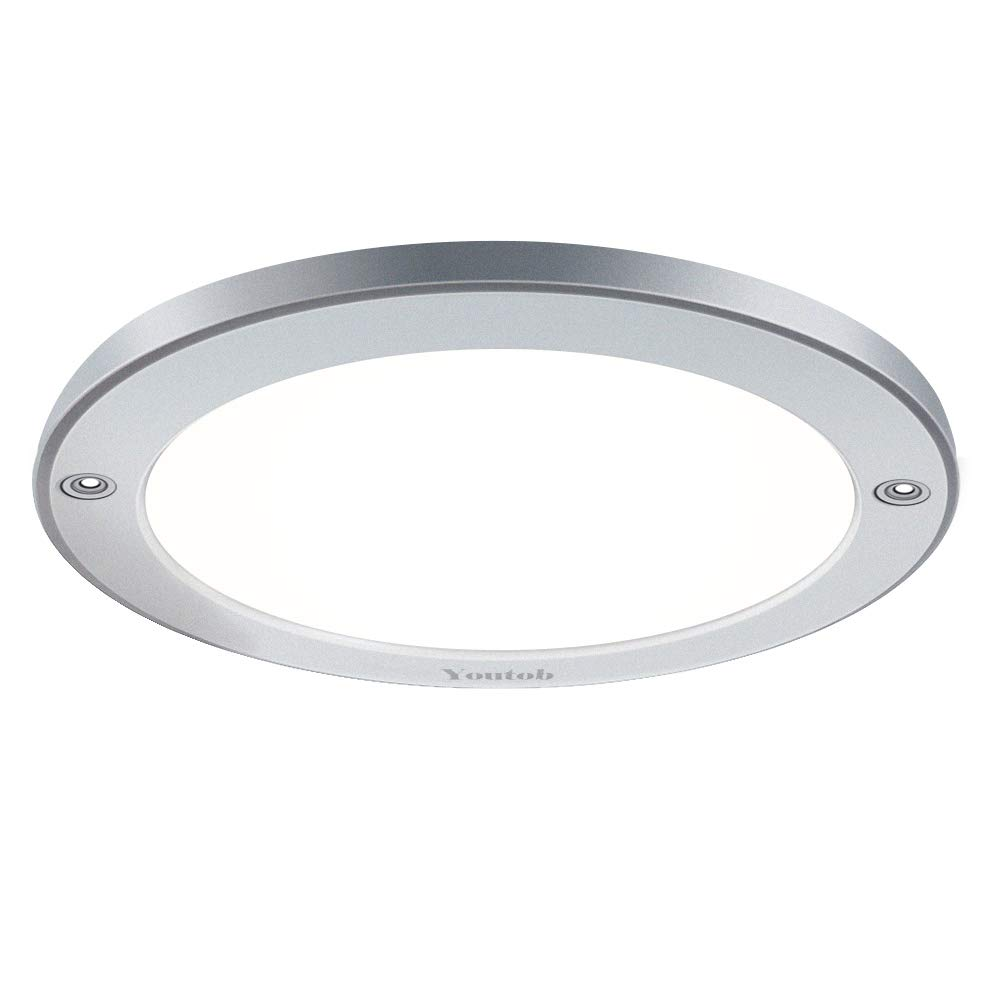 Youtob LED Flush Mount Ceiling Light, 15W 100 Watt Equivalent, 1200lm Brushed Silver Round Lighting Fixture for Closets, Kitchens, Stairwells, Basements, Bedrooms, Washrooms (Cool White 4000K) by Youtob (Image #1)