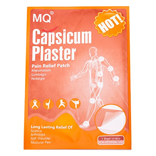 MQ Hot Capsicum Patch,Pain Relieving Patch Large,for Waist/Joint Pains,10 Patches,(12 * 18 cm/Sheet)