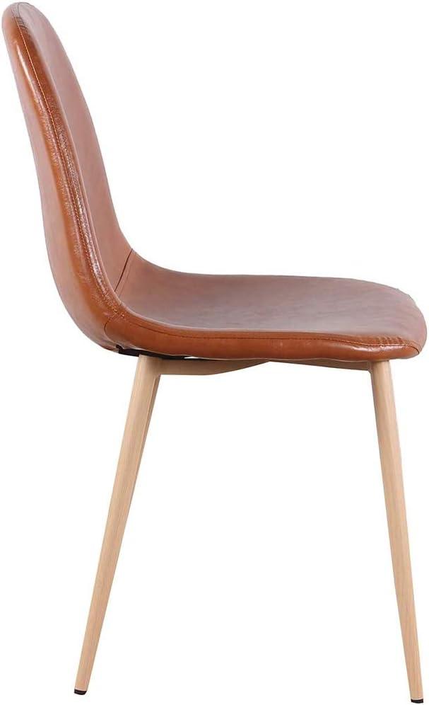 Sillas de Comedor, sillas Mediados de Siglo Moderno Secundarios, Brown PU de Cuero Silla de Comedor con Patas de Metal,Marrón