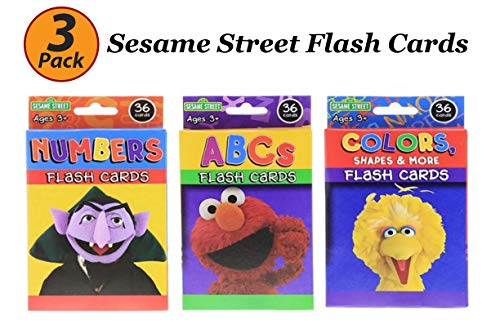 Bazic 3 Pack Sesame Street Flash Cards Early Learning, Set Includes Colors Numbers ABC Flash Cards
