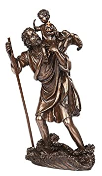 PTC 10 Inch Saint Christopher with Child Bronze Finish Statue Figurine