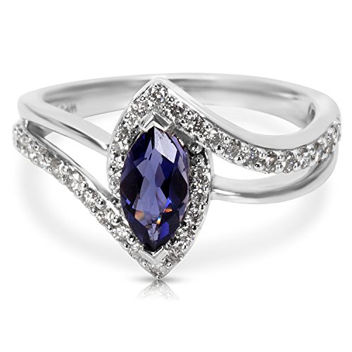 BRAND NEW Diamond & Iolite Marquise Ring in 14k White Gold (0.48 CTW) ()