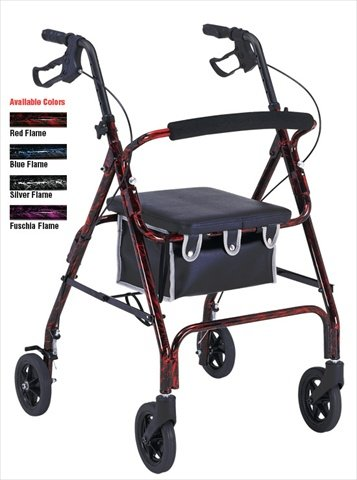 Aluminum Rollator 1037 with Loop Brakes and Flame Finish