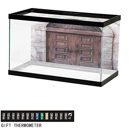 Suchashome Fish Tank Backdrop Rustic,Arched Venetian Door,Aquarium Background,30