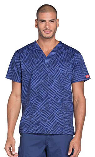 Geometric Print Top (Dickies Everyday Scrubs Signature Men's V-Neck Geometric Print Scrub Top Medium Print)
