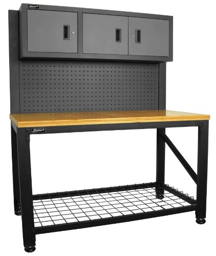 (Homak 59-Inch Wood Top Workbench with 3 Door Cabinet, Steel, GS00659031)