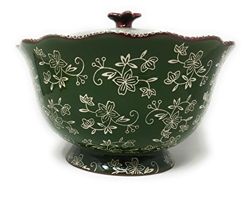 (Temp-tations 3 qt Serving Bowl with Lid, Stoneware, Scallop & Flange Edge ... (Floral Lace Green))