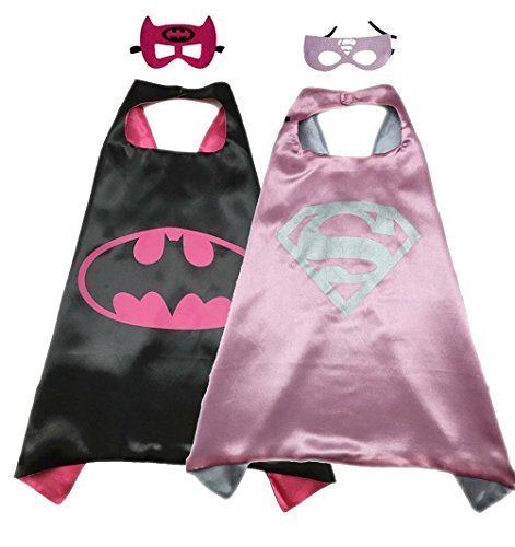 Superhero Costume Super Hero Cape And Mask Dress Up 2 Set For Kids (Batgirl-Supergirl) -