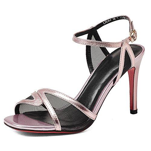 Piel de verano Rosa Verde sandalias de tacón alto fino y zapatos de la marea Pink
