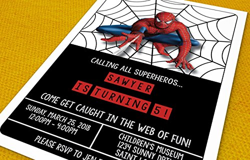 Birthday Invitations - Super Hero Party - Spiderman - Custom Birthday Invitations (20 invitations & 20 envelopes) ()