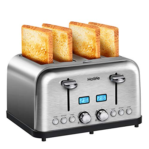 4 Slice Toaster, HOLIFE Stainless Steel Toaster [2 LCD Timer Display] Bagel Toaster (6 Bread Shade Settings, Bagel/Defrost/Reheat/Cancel Function, Wide Slots, Removable Crumb Tray, 1500W, Silver) by Holife (Image #8)