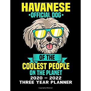 Havanese Official Dog Of The Coolest People On The Planet 2020 - 2022 Three Year Planner: Cute Dog Calendar Notebook - Appointment Organizer Journal - Weekly - Monthly - Yearly 22