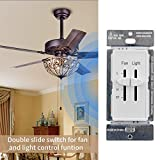 DELIXI White 3 Speed Ceiling Fan Wall Speed Control with LED Dimmer Light Switch, 360W Incandescent Load, Single-Pole, 120 Vac, 60 Hz, 2.5 A, White