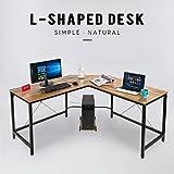 L-Shape Corner Computer Desk PC Workstation Home Office Furniture Wood & Metal Free CPU Stand (Bronze)