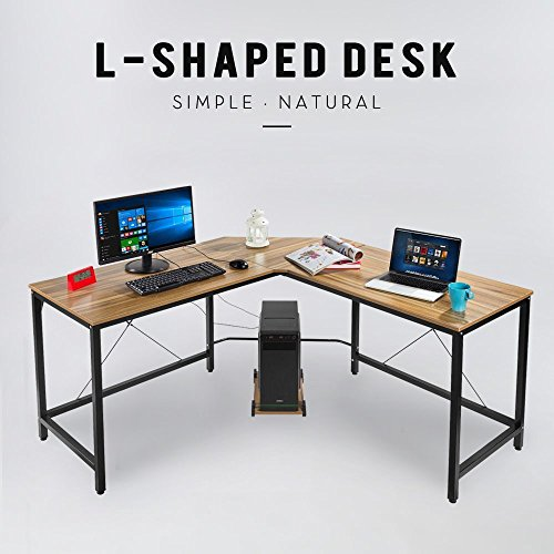 L-Shape Corner Computer Desk PC Workstation Home Office Furniture Wood & Metal Free CPU Stand (Bronze) by Hans&Alice