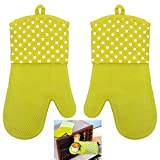 Tera 1Pair of Silicone Heat Resistant Oven Microwave Mitts Gloves for Kitchen Cooking Baking Grilling Green