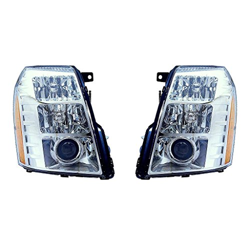 Fits Cadillac Escalade 2007-2009 Headlight Assembly W/HID Type(09 1ST DESIGN) Pair Driver and Passenger Side GM2502291, GM2503291