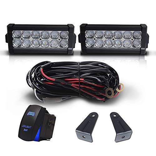 "DOT 7"" Inch 36W Led Light Bar Combo Bumper Front Grille Guard Light + 1x Rocker Switch + 1x Wiring Harness for Trailer Boat SUV ATV Truck Jeep Wrangler Dodge Chevy RV Ford F150 F250 Tractor Toyota"