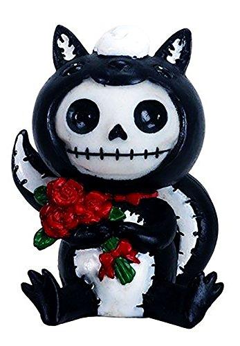 "Custom & Unique {2.5"" x 2"" Inch} 1 Single Small, Home & Garden ""Standing"" Figurine Decoration Made of Grade A Resin w/ Cartoon Furry Bones Skunk Onesie Skeleton Style {White, Black, & Brown} -"