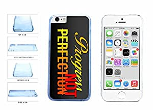 Progress not Perfection Clear Plastic Phone Case Back Cover Apple iphone 5 5s ( es screen) includes fashion case Cloth and Warranty Label