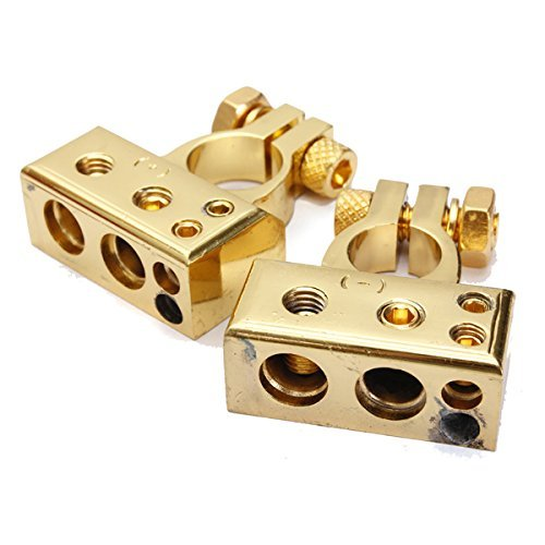 Buwico® 2 Pcs Gold Plated Positive Negative Car Battery Terminal Add Waterproof Cover for Car Audio Modification (Car Battery Positive Cover compare prices)