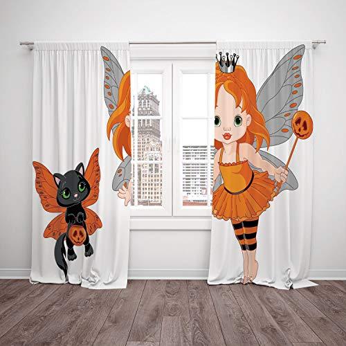 SCOCICI Satin Window Drapes Kitchen Curtains [ Halloween,Halloween Baby Fairy Her Cat in Costumes Butterflies Girls Kids Room Decor Decorative,Multicolor] Bedroom Living Room Dorm Kitchen Cafe -