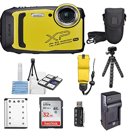 Fujifilm FinePix XP140 Shock & Waterproof Wi-Fi Digital Camera (Yellow) with 32GB Card + Battery + Charger + Case + Tripod +Ultimate Deals Kit