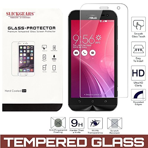 Asus Zenfone ZOOM ZX551ML ZX500 Premium Tempered Glass Screen Protector [SlickGears UltraClear Impact and Abrasion Resistant LCD Glass Shield
