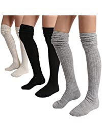 Winter Slouch Top Over The Knee High Knit Boot Socks