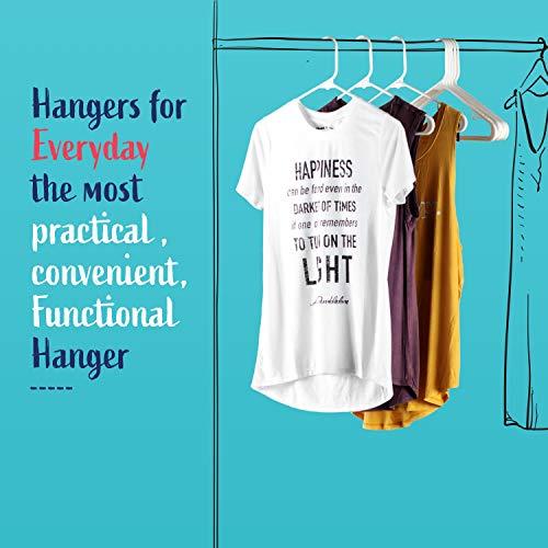 Hangorize 60 Standard Everyday White Plastic Hangers, Long Lasting Tubular Clothes Hangers, Value Pack of 60 Clothing Hangers. (60 Pack)