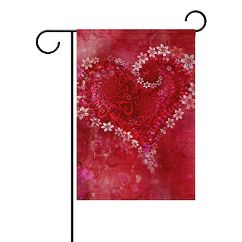 Naanle Happy Valentine's Day Polyester Garden Flag 12 X 18 I