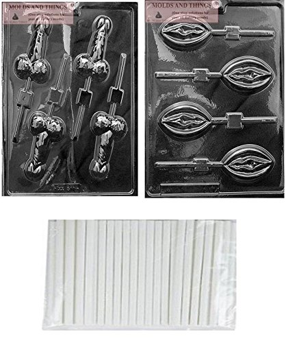 - MOLDS AND THINGS Medium Pecker POP Adult Chocolate Candy Mold & Lady Lolly Adult Chocolate Candy Mold + Copyrighted Molding Instructions + 25 Sticks