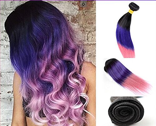 Uniwigs 100% Brazilian Remy Human Hair Weft Ombre Color Black to Blue to Pink Silky Straight Hair Extensions One Bundle (22inch)
