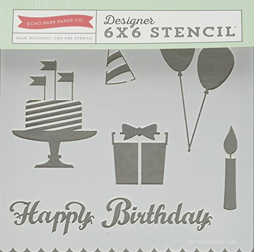 Echo Park Paper Company Stencil, 6 x 6-Inch, Happy Birthday