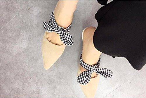 Pajarita AJUNR de 6cm Moda elegante Transpirable por salvaje consejos Heel albaricoque zapatillas cuadrícula Shoes la alto Sandalias desglosadas 34 39 cIIr6WFq